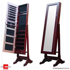floor length mirror cabinet wooden mirrored jewellery full length cabinet mahogany colour