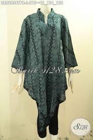 desain baju kekinian model baju batik modis warna hijau tua busana batik bahan paris nan