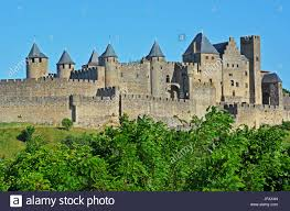 carcassonne the medieval city of carcassonne aude occitanie france stock