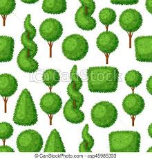 boxwood topiary garden plants seamless pattern with vectors
