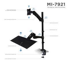 monitor and keyboard arm desk mount mi 7921 single sit stand monitor desk mount with keyboard tray 27 sc
