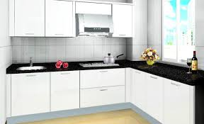 shaped kitchen design black granite countertop white kitchen