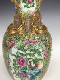Chinese Hand Painted Porcelain Vases Fine Rose Medallion Mandarin 1900 U0027s Gilt And Floral Hand Painted