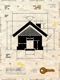 house symbol as technical blueprint drawing drafting of home