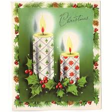 vintage 1950s embossed christmas card lit candles with christmas