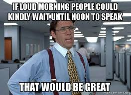 Morning People Meme - if loud morning people could kindly wait until noon to speak that