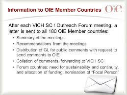 1 the oie report 32 nd vich sc meeting 6 th vich outreach forum