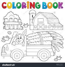 coloring book farm truck carrots eps10 stock vector 589506869