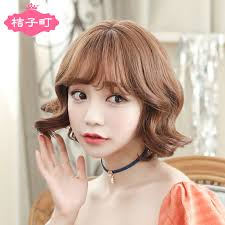 wigs short hairstyles round face usd 32 15 korea lovely air thin fringe short curly hair omelet