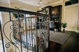 wrought iron balcony railing home office transitional with built