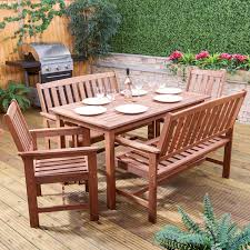 rectangular wooden garden dining set