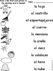 fall match the spanish words to the pictures enchantedlearning com