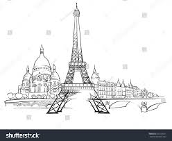 paris france panorama sketch monochrome urban stock vector