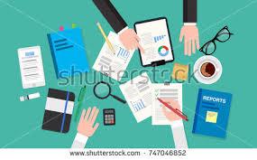 Desk Audit Hand Magnifying Glass Calculator Analysis Financial Stock Vector