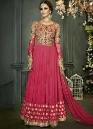 anarkali wedding dress pink embroidery zari work fancy anarkali