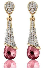 dangler earrings buy mahi gold plated pink austrian crystals dangler earrings for
