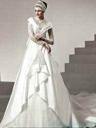 long lace sleeves modest wedding dress with big bow on the back