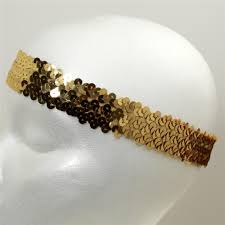 gold headbands 1 1 4 hologram stretch sequin headband gold discount designer
