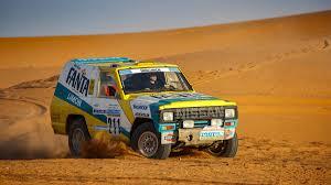 land rover dakar 1987 nissan patrol fanta limon paris dakar rally car restored