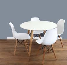 mmilo dining table round 1m and chairs set of 4 dsw white