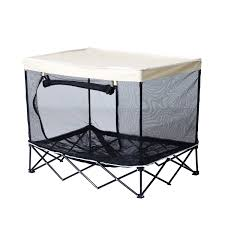 Pet Canopy Bed Pawhut 40 Elevated Pet Cot Bed With Mesh Walls White Black