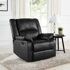 Faux Leather Recliner Mainstays Faux Leather Recliner Black Walmart
