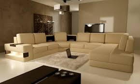 Living Room L Sets Beige Leather L Shaped Sectional Sofa Set For Small Living Room