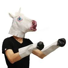animal unicorn head mask hooves glove cosplay halloween ball party