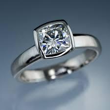 bezel ring cushion moissanite bezel set solitaire engagement ring