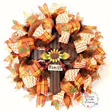 fall deco mesh wreath thankful grateful blessed wreath fall door