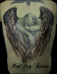 sad angel tattoo design for men photos pictures and sketches