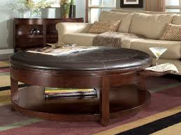fantastic round leather coffee table large round leather ottoman