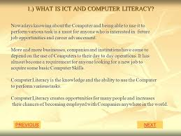 topics previous next what is ict and computer literacy ppt download