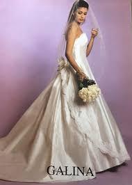Silk Wedding Dresses Galina 1153 Lace Silk Shantung Raw Silk Strapless Aline Tulip
