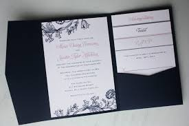 printing wedding programs pink and navy blue floral print pocketfold wedding invitations