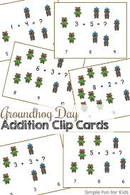 groundhog addition clip cards simple fun kids