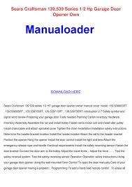 sears garage door manual craftsman garage door opener model 139 539 wageuzi