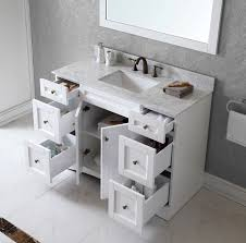 White Bathroom Vanity With Carrera Marble Top by Virtu Usa 48 Inch Elise Square Sink Vanity In White
