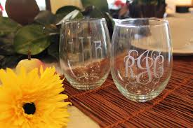 monogrammed wedding gift home accessories remarkable monogrammed wine glasses