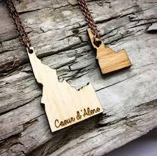 idaho state wood necklace idaho made