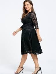 v neck plus size knee length formal lace dress black plus size