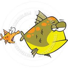 cartoon little fish eating big fish by ron leishman toon vectors