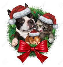 Holiday Wreath Pets Holiday Wreath With A Dog Cat And Hamster Wearing Christmas