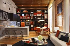 loft decorating ideas with sofa and table also table lamp as well