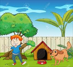 Backyard Clip Art Illustration Of A Boy Dancing Along With The Dog Royalty Free