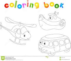 set of bus ship and helicopter coloring book for children stock