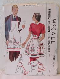 Aprons Printed Vintage Mccalls 1949 Mr U0026 Mrs Aprons