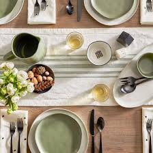 striped woven table runner green hearth with