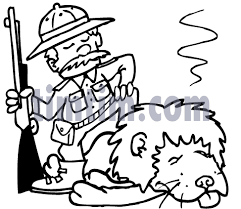free drawing of a lion hunter bw from the category fishing hunting