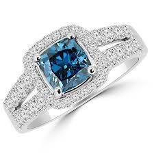 Blue Diamond Wedding Rings by 1 76ct Cushion Cut Blue Diamond Halo Engagement Ring Split Band